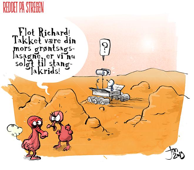 Om Liv på mars, metan, pruttehumor, cartoon og vittighed